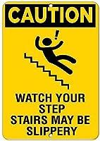 金属看板注意してくださいあなたの階段は、滑りやすい危険サイン