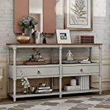 Rustic Console Table Sofa Table with 3-Tier Open Storage Shelf and 2 Drawers, Buffets Sideboards for Living Room, Hallway, Dining Room (Antique Gray)