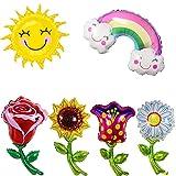 Flores Forma Aluminio Globo, Sol, Nubes, Girasol Arcoíris, Rosa, Globo de Papel de Aluminio, Los Globos Son Muy Brillantes y Coloridos, se Pueden Usar Repetidamente (6 Globos Grandes)