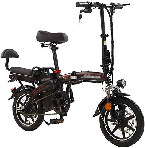RDJM Bici electrica Bicicletas rápidas y Eléctrica en Adultos 48v Bicicleta eléctrica Plegable for Hombres y Mujeres, con 350W de Motor, de 14 Pulgadas Bicicleta eléctrica for Adultos, Tres Formas de