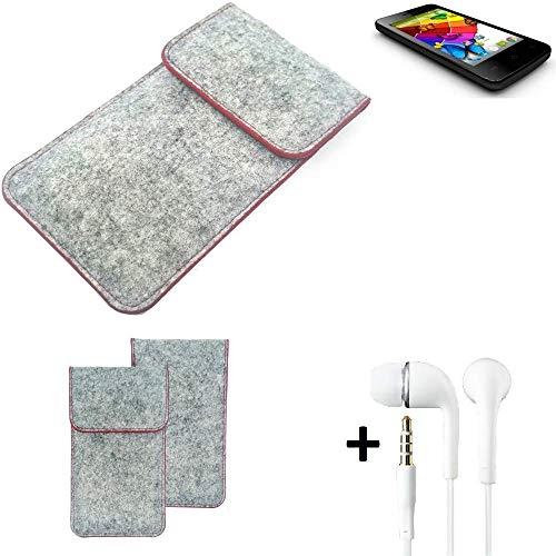 K-S-Trade® Handy Schutz Hülle Für Mobistel Cynus E4 Schutzhülle Handyhülle Filztasche Pouch Tasche Case Sleeve Filzhülle Hellgrau Roter Rand + Kopfhörer