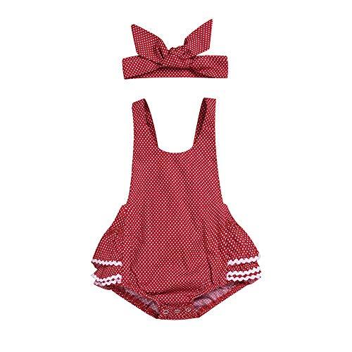 Infant bébé Filles Polka Dot Barboteuse Vintage Body Ruffle Bubble Hem Combinaison Globale Combi avec Bandeau 0-24 M