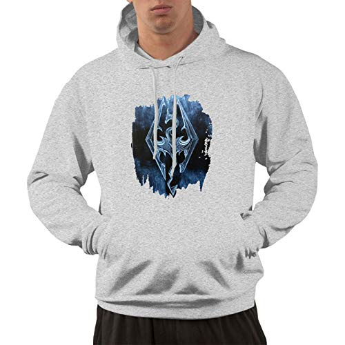 Men's Cotton Pullover Comfortable Hoodie Sweatshirt Gray Print Welcome to Skyrim Hooded Shirts with Pocket 3X-Large