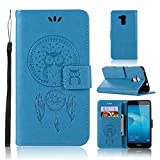 LMAZWUFULM Hülle für Honor 5C / Huawei 7 Lite/Huawei GT3 (5,2 Zoll) PU Leder Magnetverschluss Brieftasche Lederhülle Eule & Traumfänger Muster Standfunktion Ledertasche Flip Cover Blau