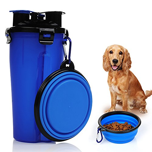 STXMALL Dog Water Bottle Cat Water Bottle Combo Pet Water Bottle with 2 in 1 One Bottle Two Chambers for 350 ml Water and 250 g Food with Free Collapsible Dog Bowl Foldable Cat Bowls for Travel Blue