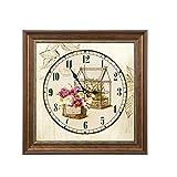 DJX Reloj de Pared clásico Mural Europeo de la Sala de Estar del Estilo, Pintura Decorativa de la Moda de la Caja Elegante del Metro del Reloj de Pared Mudo (Color : E)