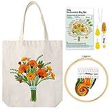 Pllieay Kit de bordado de bolsa de lona blanca con patrón e instrucciones, incluye bolsa de bordado con patrón de flores, aros de bordado de bambú, hilos de colores y herramienta
