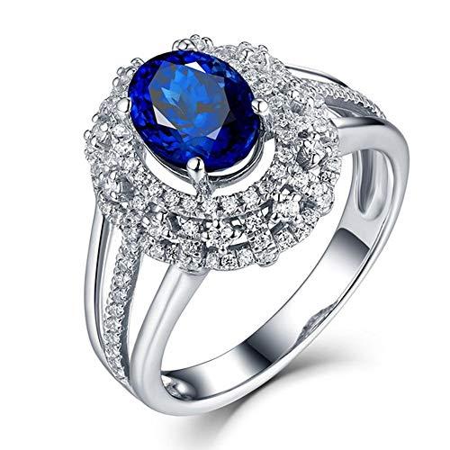 Collar de moda para mujer Tanzan Elíptico de corte de piedras preciosas de la boda de la novia de la boda del diamante de la novia de la boda 9k anillo de las mujeres del oro blanco, tamaño del anillo