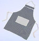 Driverder Gran Cocina de Delantal Delantal de Lona de Moda Delantal de Rayas de Color Liso (Franja Azul)