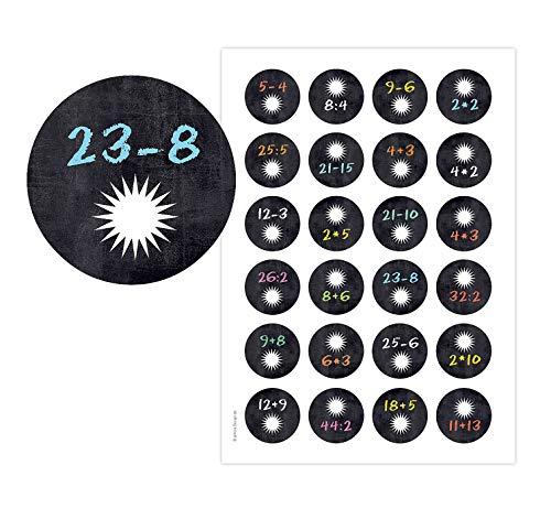 almira Design Adventskalenderzahlen RECHNEN Tafel mit Stern, witzige Adventskalender Zahlenaufkleber, Zahlen, Sticker Rechnen Mathematik Kinder Tafel