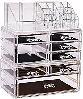 Sooyee Clear Acrylic 6 Tier 8 Drawers and 16 Grid Stackable Large Cosmetics Makeup Organizer and Jewelry Storage Case Display Set,3 Pieces Set Lipstick Cube Holder Countertop (9.44x5.35x11.62 inch)