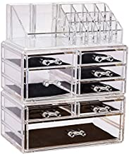 Sooyee Acrylic 8 Drawers and 16 Grid Cosmetics Makeup Organizer and Jewelry Storage Case Display Set,Three Pieces Set Lips...