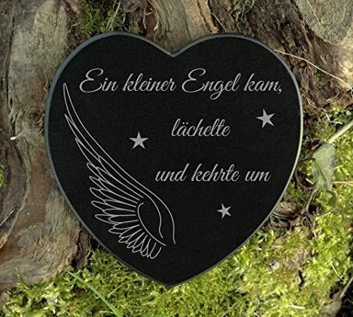 Gedenkstein Herz Grabschmuck Marmor Engel Gravur Sternenkind