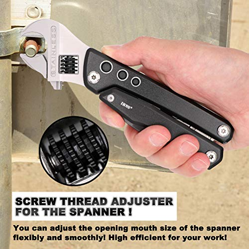 IBNS 7 in 1 Multifunction Tool 024 Adjustable Spanner Multi Tool with Screwdriver Plier Wire Cutter Knife Bottle Opener For Home Outdoor Yard