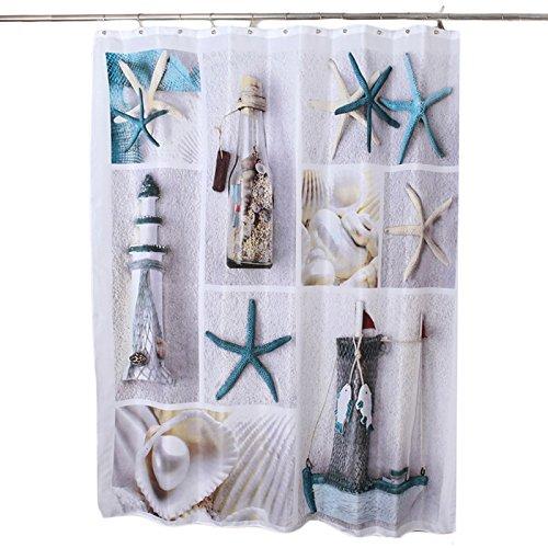 Create Idea - Cortina de ducha (180 cm + 12 ganchos de estrella de mar, náutica, playa, mar, mundo), impermeable, tela para cuarto de baño