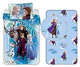 Frozen Sisters Family 3pezzi Set Letto Singolo Copripiumino + Federa + Lenzuola c/Angoli Cotone Biancheria da Letto Bambini