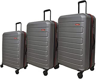 Track Solid Luggage Trolley Bag, 4 Wheels, 3 Pieces - Dark Grey