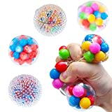 Stress Balls for Kids and Adults, LOSIMEI 4 Funny Squishies Balls DNA Stress Ball Fidget Toy for Anxiety Autism ADHD, Sensory Toys Stress Relief Toys for Party Favors, Birthday Gifts, Home, Office