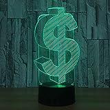 LED 3D Ilusión lámpara de proyección lámpara Dollar sign decoración del hogar y para codormir Con interfaz USB, cambio de color colorido
