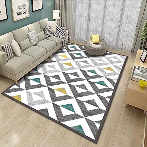 alfombras de habitacion Grande Alfombra contemporánea salón Gris Cuadrado Duradero Alfombra Anti-mita Gris Alfombra para niños 80x160cm Alfombra de Juego Bebe 2ft 7.5''X5ft 3''