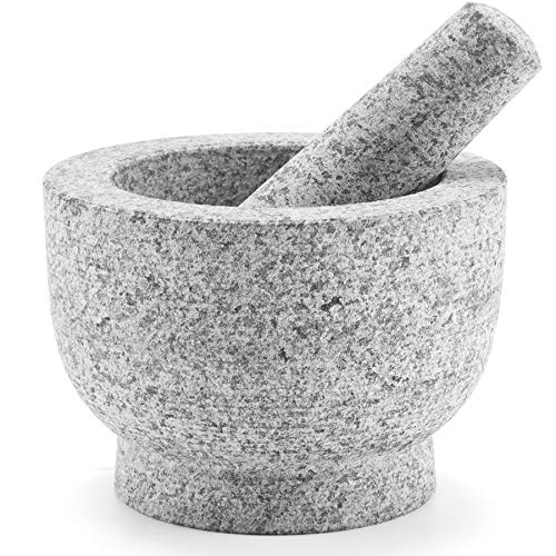 CO-Z Granite Mortar and Pestle Set for Guacamole Spice Salads, 6 Inch - 2 Cup Capacity - Large Heavy Duty Unpolished Granite Molcajete Grinder, Herb Crusher Stone Bowl, Dishwasher Safe