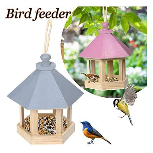 CUEYU Hölzerner Vogel-Futterhaus, Futterautomat zum Hängen, Mini Holz Vogelhäuschen hängen für Garten Hof Dekoration Sechseck mit Dach Geformt (Rosa)
