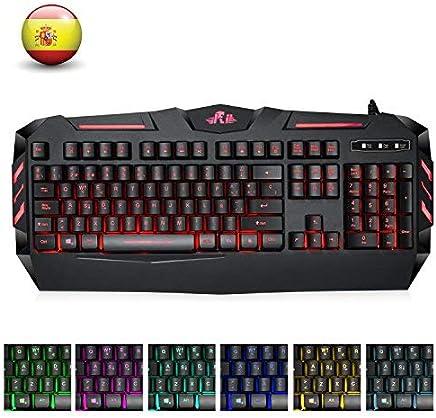 Rii RK900 Teclado Multimedia Gaming con sensibilidad mecánica, 7 Colores retroiluminado para Usarlo en la Oscuridad. El más Moderno y avanzado hasta la Fecha. (QWERTY con Layout Español, Negro)