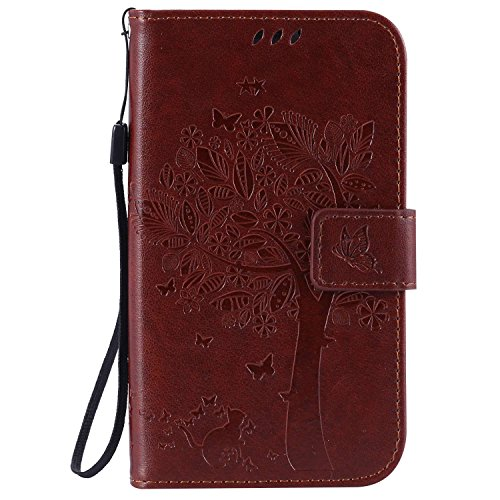 Guran® PU Leder Tasche Etui für Samsung Galaxy Grand Neo Plus/Grand Neo (i9060) Smartphone Flip Cover Stand Hülle & Karte Slot Hülle-Hellbraun