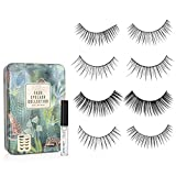 Nicole Miller Faux Eyelash Collection with Lash Glue in Tin Case, Set of Four False Lashes (Printed Floral Tin)