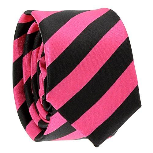 Cravate Rayures Larges Rose et Noire - Cravate rayée