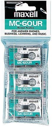 Maxell(R) Microcassette Tape, 60-Minute, Pack of 3