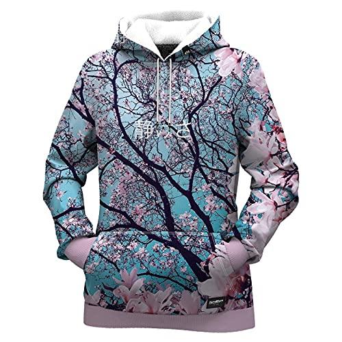 Fresh Hoods Sudadera con capucha para mujer   3D Impreso Sudaderas de manga larga para damas, Flor de cerezo, S