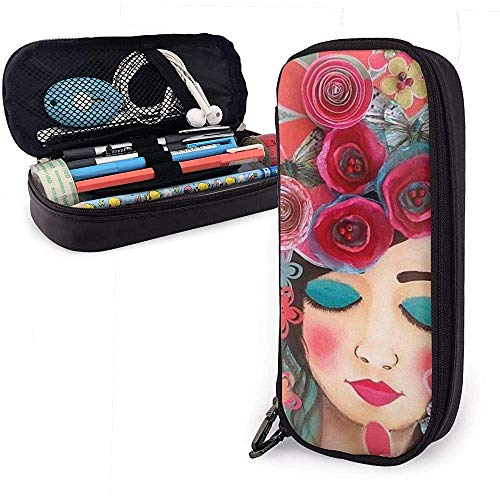 Vintage Girl Rose Flower PU Leather Pen Pen Bag 20 * 9 * 4 cm (8X3.5X1.5 Inches) Pouch Case Holder College Coin Purse Cosmetic Bag