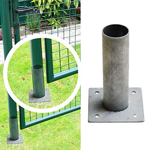 Zaun-Nagel Bodenplatte zum Aufschrauben - für Türen Tore mit Pfosten Ø 60 mm