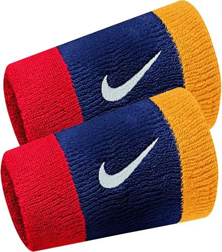 Nike Coppia Polsini Tennis Lunghi Swoosh Double Wide più Colori Federer Nadal (Midnight Navy - University Red - University Glod - White)