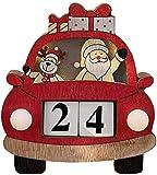 WSNFQ Calendario navideño para automóvil, Calendario de Escritorio navideño de Madera con Accesorios creativos con Luces, decoración del hogar para el día de Navidad