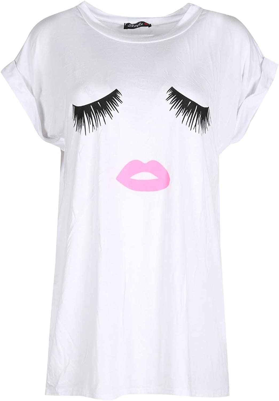 Women Ladies Oversize Baggy Like a Boss Print Turn up Sleeve Varsity Top T-shirt