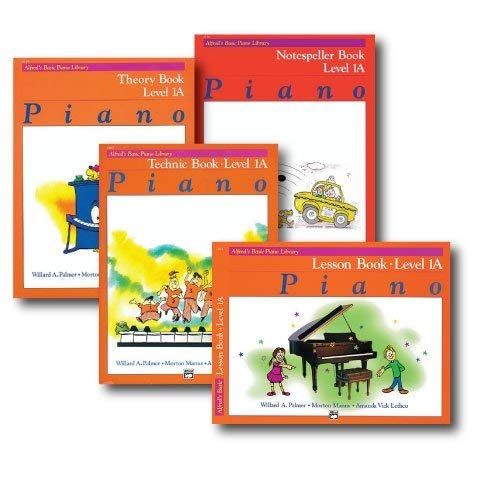 Alfred Basic Piano Library Course Pack Level 1A - Four book set includes - Lesson, Theory, Technic and Notespeller Books.