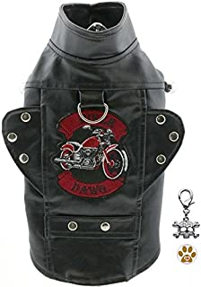 DOGGIE DESIGN Biker Dawg Motorcycle Harness Jacket with Skull Charm and Button Pin – Choice of Pink or Black - Dog Sizes XS Thru 3XL