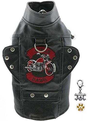 """Dawg Motor Jacket with Biker Skull Charm and Button Pin for Dogs (XS - Chest 10-13"""", Neck 7-9.5"""", Black)"""