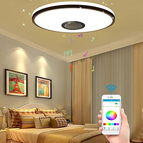 DELITLS Luz de techo LED de música, lámpara de techo que cambia de color con altavoz Bluetooth, temporizador de control remoto que cambia de color de la música (tipes2 (60 W)