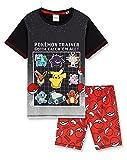 Pokemon Pijama Niño Verano, Pijama Niño, Merchandising, Pijamas Niños Verano de 5 a 15 años (Negro/Rojo, 13-14 años)