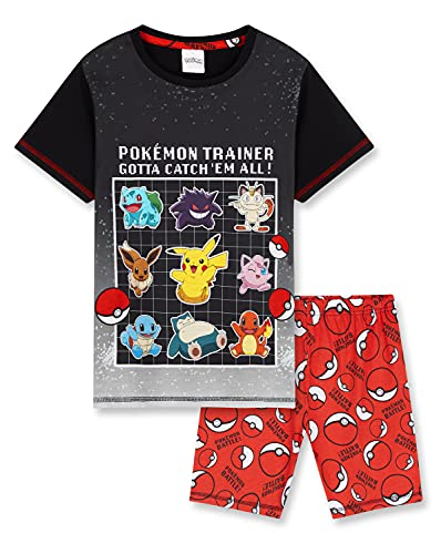 Pokemon Pijama Niño Verano, Pijama Niño, Merchandising, Pijamas Niños Verano de 5 a 15 años (Negro/Rojo, 9-10 años)