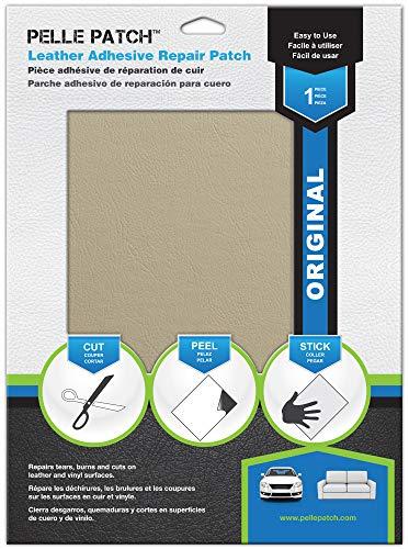 Pelle Patch - Pièce adhésive de réparation de Cuir et Vinyle - 25 Couleurs Disponibles - Original 20cm x 28cm - Crème
