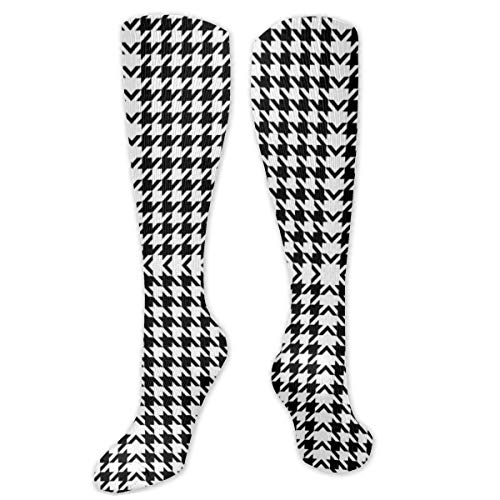 Black and White Line Lattice Personalized Pattern Tall Socks for Men and Women Best Running Traveling Cycling Pregnancy Nurse Calf Tube Socks,Dress Socks Crew Socks 8.5 X 50 cm