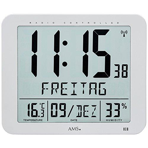 Wanduhr - AMS Tischuhr Funk digital silbern Datum Thermometer Weckfunktion