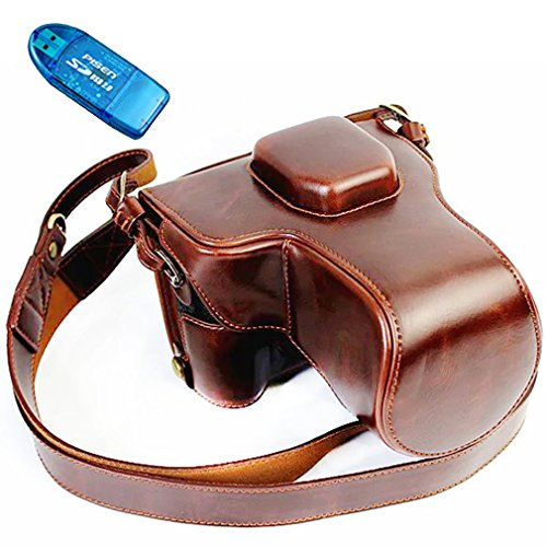 First2savvv XJD-XT1-HH10 dark brown Premium quality black full body Precise Fit PU leather digital camera case bag cover with should strap for Fujifilm Fuji X-T1 XT1 + SD card reader