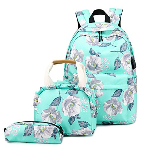 Floral Printed School Backpack Set for Girls Women Multifunction School Bags+Lunch Bag+Pencil Case School Laptop Backpack with USB Charging Port Daypack Rucksack for Travelling Sports Daily (C)