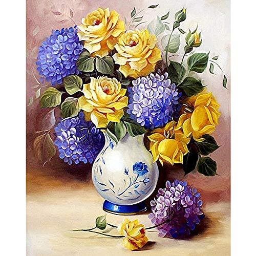 5D diamantborduurwerk, kruissteek, schilderset, vaas, kruissteek, bloemen, kleurrijk, diamant, kristal, schilderwerk, decoratie van het huis 40*50cm