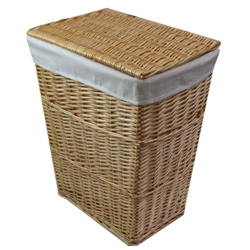 JVL Classic Honey Tapered Willow Wicker Lined Washing Linen Laundry Basket, 57 x 45 x 32 cm